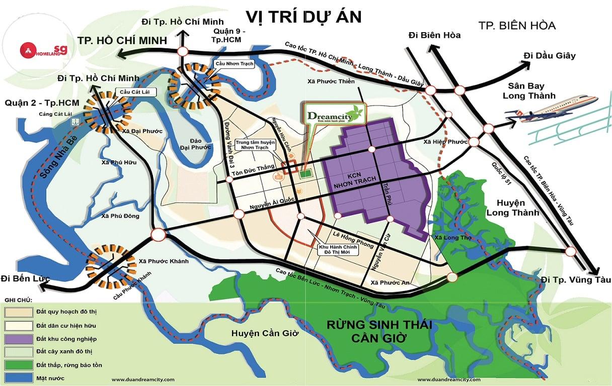 vi tri dream city long thanh