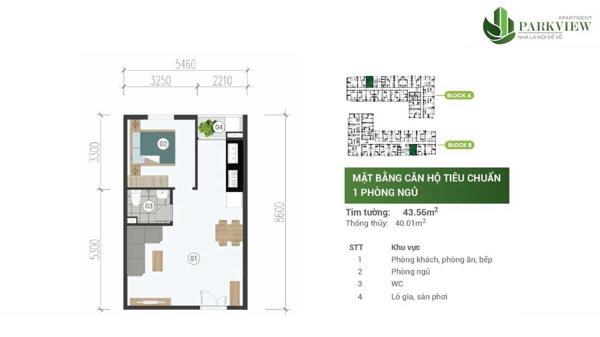 can ho 1 phong ngu park view apartment