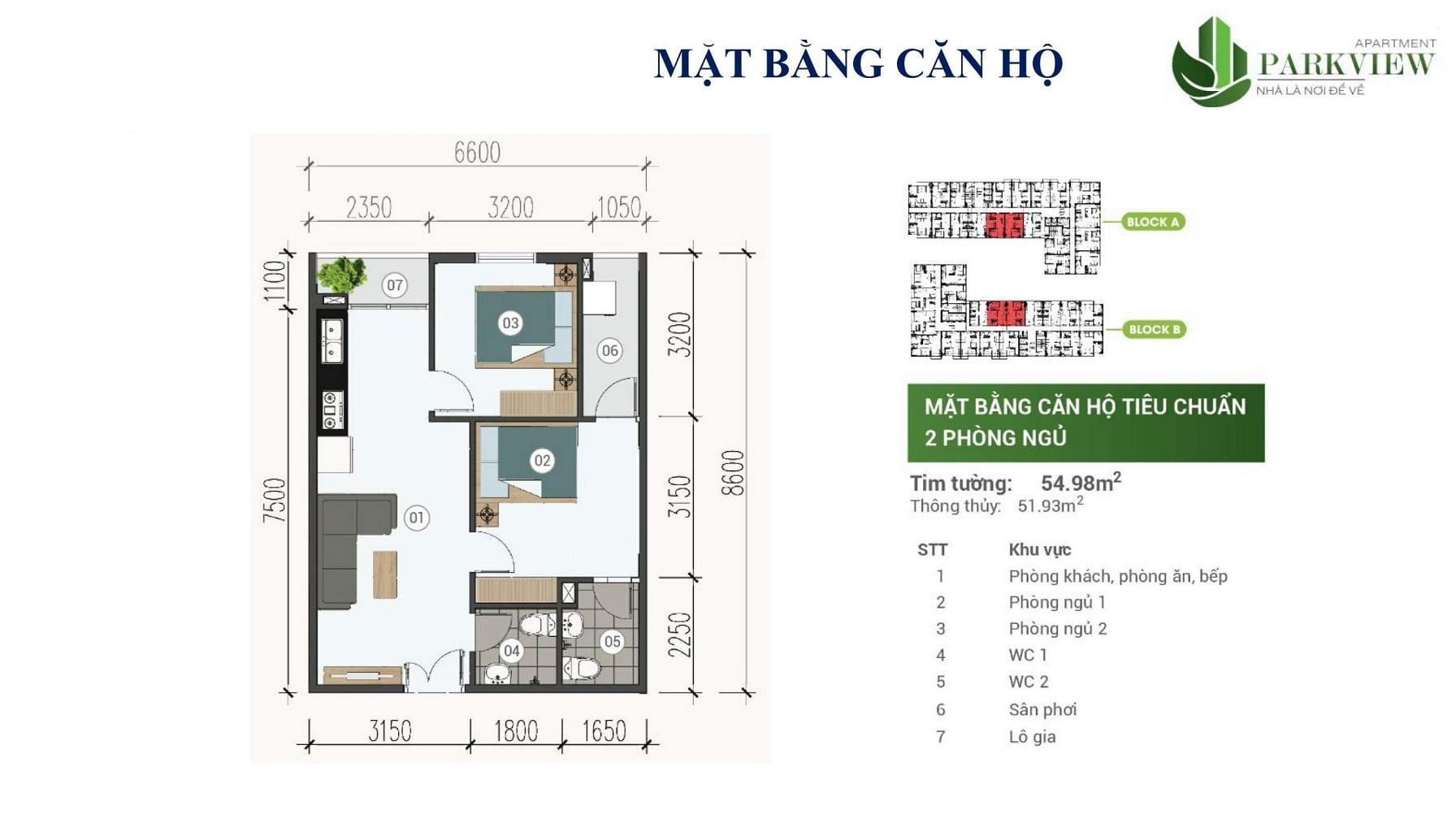 can ho 2 phong ngu park view apartment