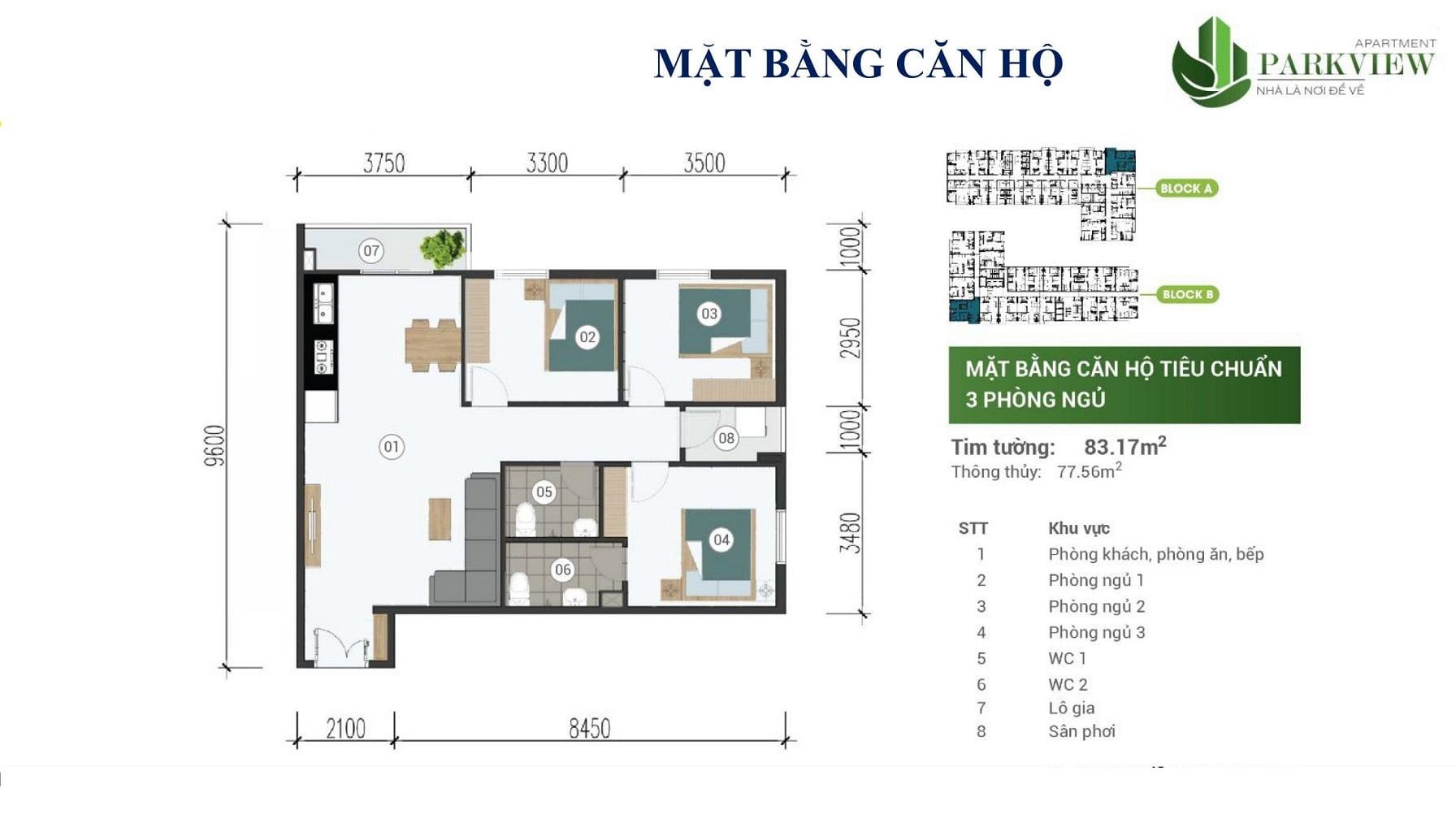 can ho 3 phong ngu park view apartment