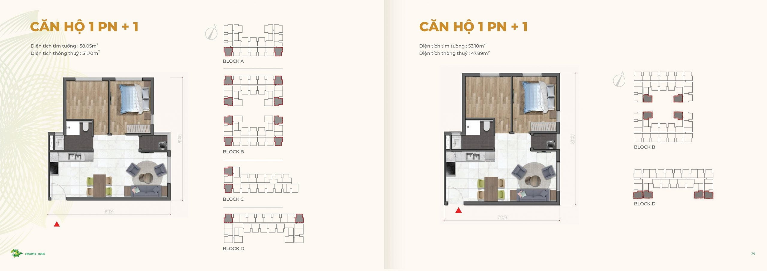 can ho 1PN +1 58m2 Dragon Ehome