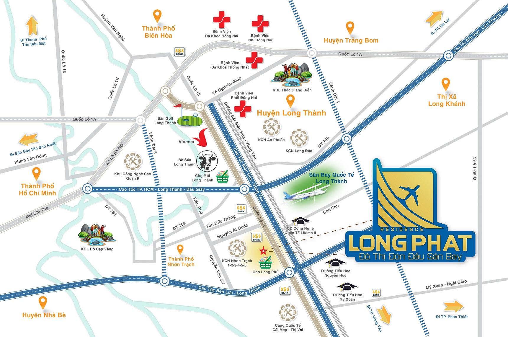 sơ đồ khu vực gần long phát residence long thành