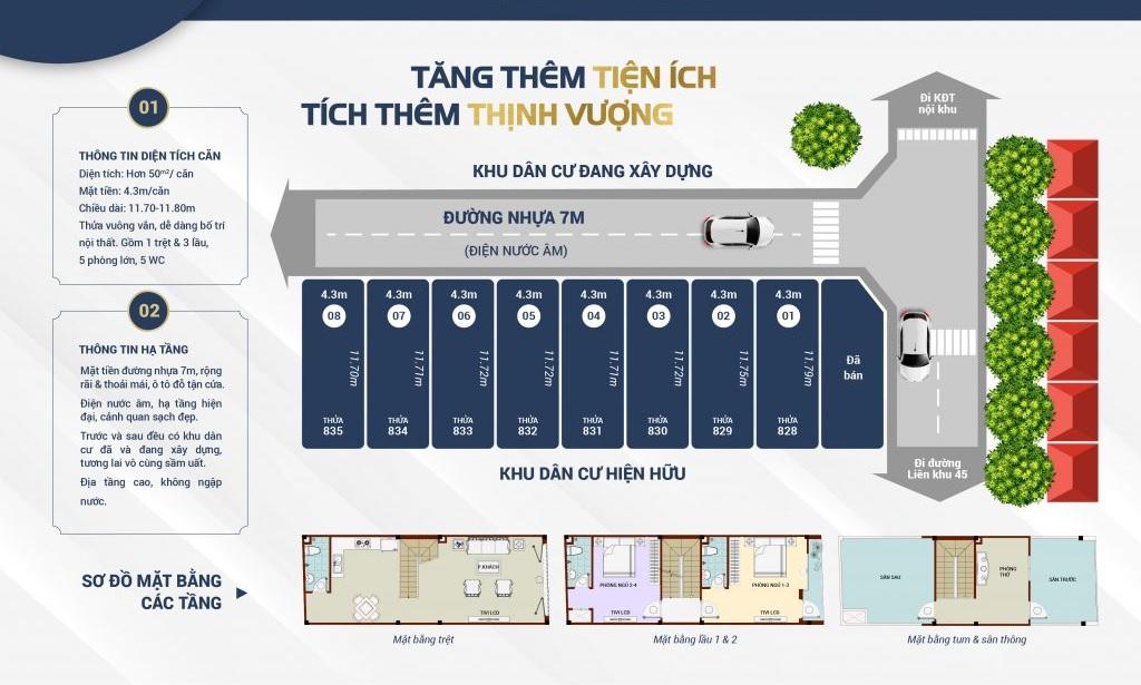 Mặt bằng thiết kế dãy nhà phố Bita Bình Tân